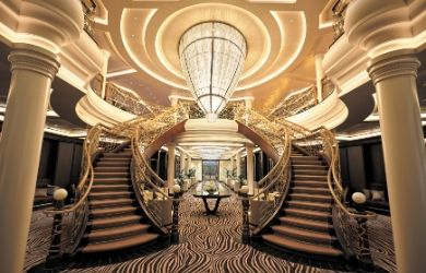 Seven Seas Explorer atrium on luxury cruise